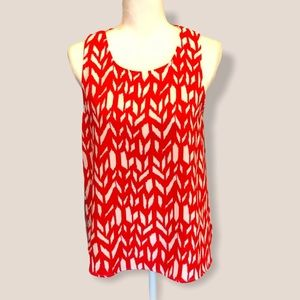 Everly Red and White Printed Sleeveless Top S